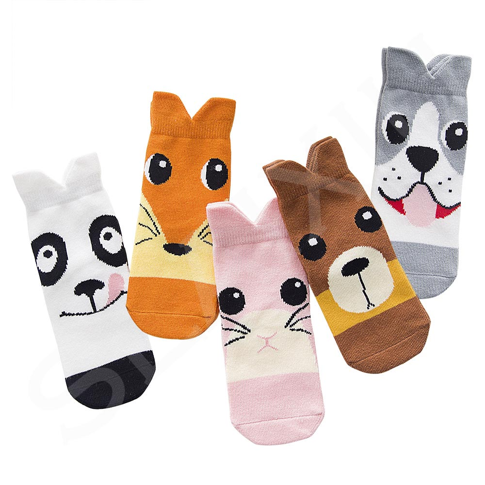5 Pair/lot Kawaii Pattern Cotton Kids Socks Baby Breathable Boys Girls Socks For Children Sock 5 Kinds Style Suitable For 1-12Y 3
