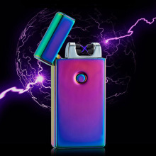 Cross Double Arc Lighter Case USB Pulse Windproof Lighters Electronic Metal Men Cigarette lighter with gift box(China)