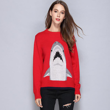 New Autumn Winter Jumpers Women Brand Fashion White Shark Sweaters Long Sleeve O Neck Ladies Red Cashmere Knitted Pullovers(China)