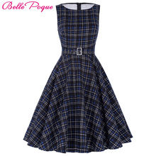 Belle Poque Women Summer Dress 2017 Rockabilly Audrey Hepburn Tunic robe Casual Clothing Vestidos 60s 50s Vintage Plaid Dresses(China)