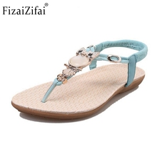 Ladies Flats Sandals Filp Flops Open Toe Beach Shoes Women Stylish Rhinestone Owl Elastic Sandals Daily Lady Footwear Size 36-40