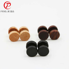 2PCS Natural Wood Fake Illusion Ear Expander Plugs Earrings Studs Natural Organic Retro Ear Body Jewelry Piercing