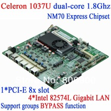 Firewall motherboard with 4*Intel 82574L Gigabit electrical interface PCI-E 8x slot Celeron 1037U dual-core CPU 1.8GHz TDP 17W