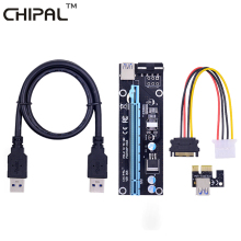 CHIPAL Black 60cm PCI Express 1X To 16X PCI-E Riser Card USB 3.0 To 4Pin IDE Extension Cable Molex Power Supply For BTC Miner(China)