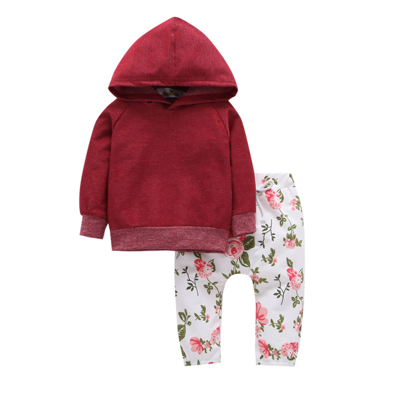 2Pcs Toddler Girl Casual Sets Spring Autumn Burgundy Long Sleeves Cotton Coat+White Flowers Pants Baby Girl Clothes Sets<br>