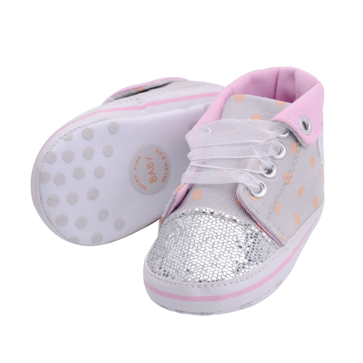 Infant Newborn Baby Girls Boy Glitter Polka Dots Autumn Lace-Up First Walkers Sneakers Shoes Adorable RibbonToddler Canvas Shoes 19