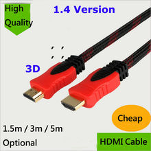Cheap 1.5M 3M 5M HDMI Cable 1.4 version High speed Gold Plated Plug Male-Male Cable 1080p 3D for Projector HDTV XBOX PS3