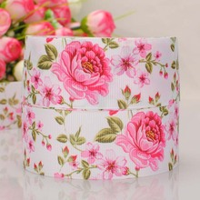 "5 yard 1-1/2"" (38mm) beautiful pink flower pattern print grosgrain ribbon tape DIY handmade hairbow ribbon free shipping(China)"