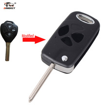 DANDKEY New Arrival 3 Buttons Folding Flip Remote Key Shell Case For Toyota Camry Reiz Crown With Logo