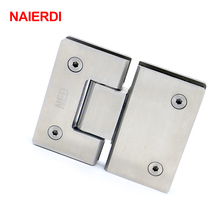 NAIERDI-4904 180 Degree Hinge Open 304 Stainless Steel Wall Mount Glass Shower Door Hinges For Home Bathroom Furniture Hardware(China)