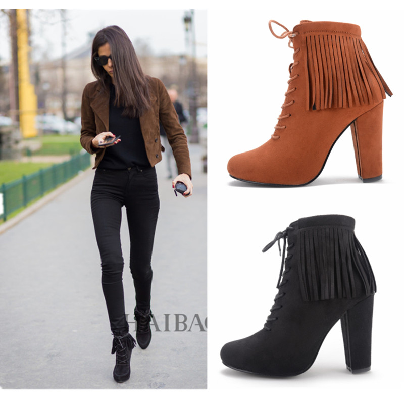 Spring Autumn Womens Shoes Heels 2016 European Flock Leather Tassel Ankle Boots Ladies-shoes Women Pumps Big Size40 Black/Brown<br><br>Aliexpress