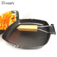 Square no pot cover panela refined iron steak frying pan non-stick cooking grill pan exquisite coating cover & foldable handle