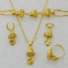 Anniyo Heart Jewelry set Necklace & Pendant Bracelet Earrings Ring Gold Color Chain Women Romantic Gift African set Arab #053806(China)