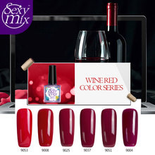 Sexy Mix 1PCS 9ML Wine Red Series Set For Nail Gel Polish Soak Off Gel Polish With UV Lamp Nail Gel Varnish 2017 Lucky Color Gel