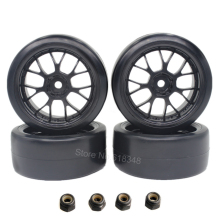 4pcs Smooth Plastic RC Drift Tires & Wheel Rims 12mm Hub Hex For HSP HPI Tamiya 1/10