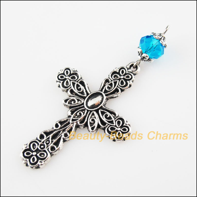 3 New Skyblue Crystal Beads Animal Tortoise Charm Pendant Tibetan Silver 25x55mm