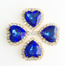 Light blue 12mm high quality heart Crystal buckle, gold base Glass sew on rhinestones,diy/clothing accessories SKHJ12