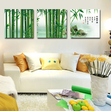 Green bamboo painting Fashion home decoration Modern wall art 3 piece canvas wall art painting wall pictures for living room