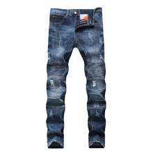 2018 Hot Sale Mens Jeans Torn Rider Denim Jeans Motorcycle Track Slim Fit Washed Motorcycle Denim Pants Dropshipping(China)