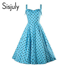 Buy Sisjuly vintage 1950s dress ploka dots print party sexy dresses women spring sleeveless backless cute retro vintage dresses new for $18.09 in AliExpress store