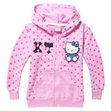 Girl children outerwear nova kids hello kitty girls' fashion hoodies baby wear sweatshirts girls Rhinestone zipper kids jacket