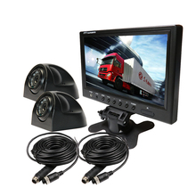 "FREE SHIPPING 12V 9"" Color LCD Car Monitor 2 CH Video View Kit + 2 Metal IR IP67 Car Surveillance Side Camera for Bus Van Truck(China)"