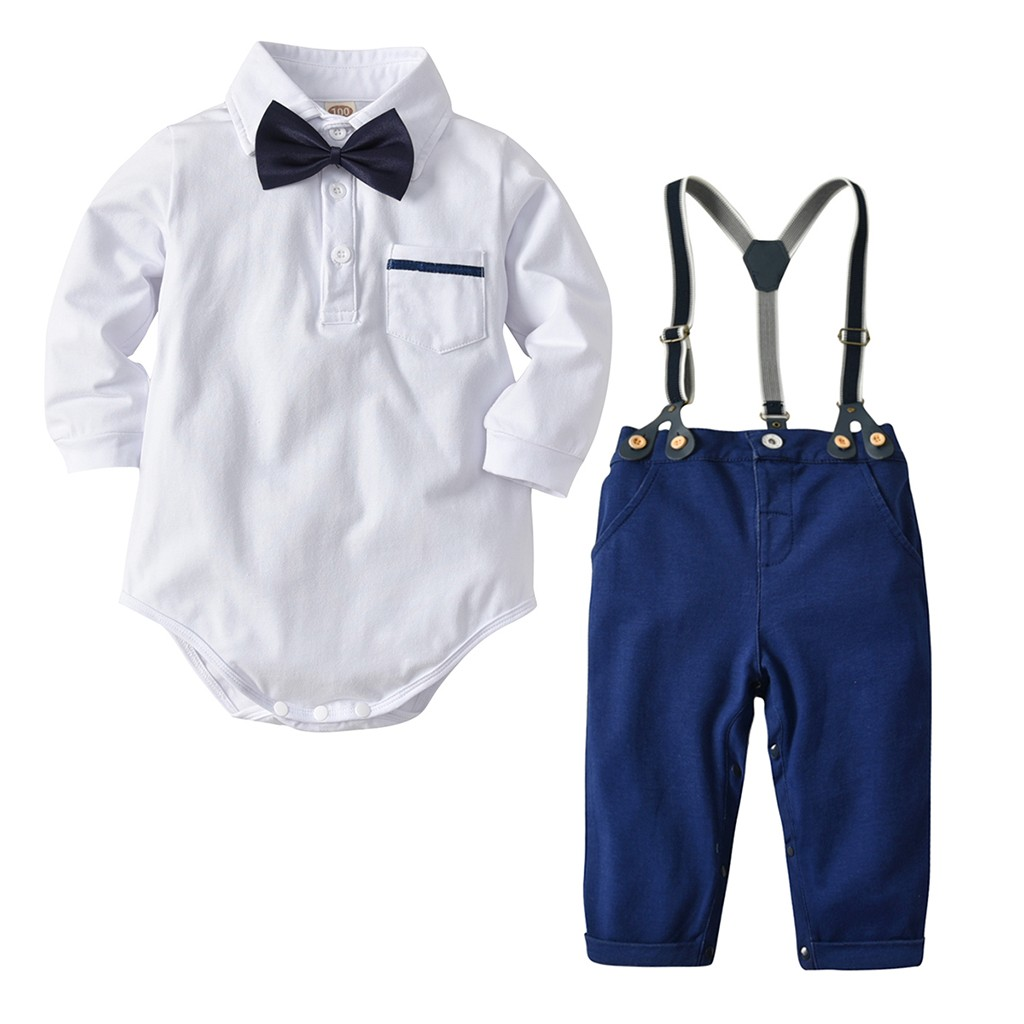 Baby Boys Infant Baby Boys Short Sleeve Bow Tie Gentleman Jumpsuit Leaf Print Button Romper Comfy One Piece Clothing Footies & Rompers