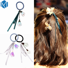 MISM Women Sweet Flower Tassel Ribbon Hair Elastic Bands Floral Hair Accessories Holder Fashion Girls Pendant Scrunchy Hair Rope(China)