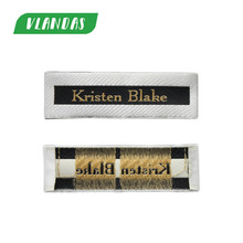 "Custom Designed New Style Woven Damask End Fold T Shirt Woven Label Main Label A004 ""Kristen Blake"" Logo(China)"