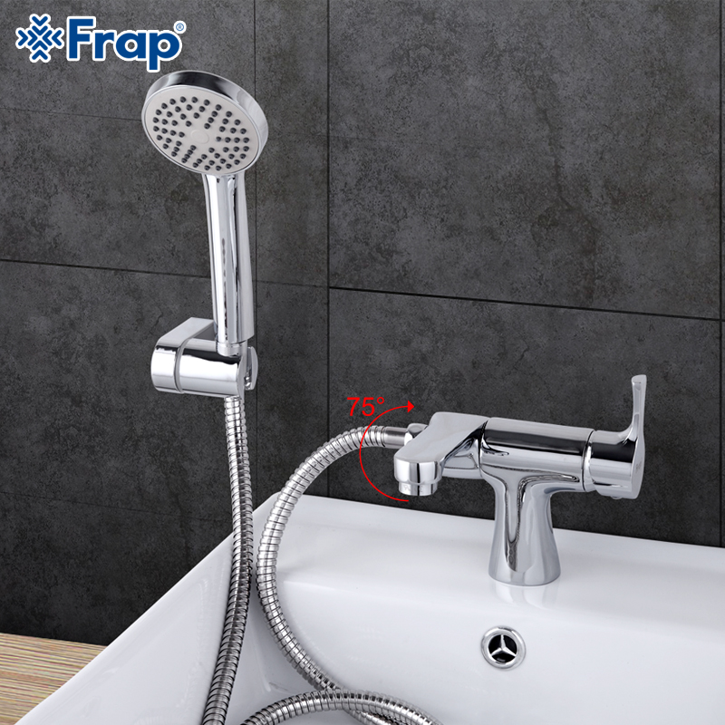 Frap 1 set Classic Style bathroom Basin Faucet with Hand Shower Cold and Hot Water Mixer bathtub faucets 75 Degree Switch  F1252<br>