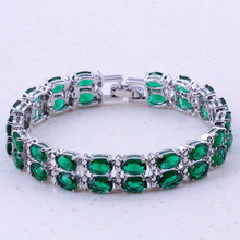 Glaring Green Created Emerald Silver Color Charm Bracelets Party Fashion Jewelry For Women Trend Accessories D0001