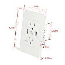Dual USB Port Wall Socket Charger AC Power Receptacle Outlet Plate Power Adapter 5V 2A(China)