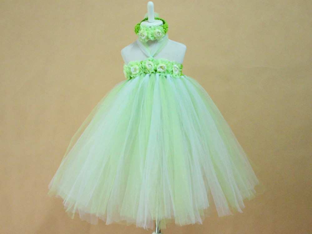 Light green and white Voile European and American Styls Children Dress Birthday/Party Handmade Baby girls Layered flower dress<br><br>Aliexpress