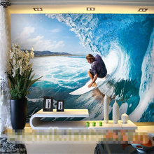 beibehang papel de parede 3D Surf sea sports shop fitting decoration tooling custom 3D wall paper background wallpaper murals(China)