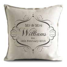 Personalized Wedding Classic Vintage Style Mr&Mrs Pillow Cover,wedding favor,party favor,Newlywed wedding favor(China)