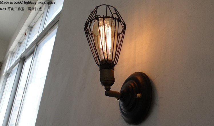 American stytle Vintage Industrial Edison Wall balcony Lamp lighting 180 Degree adjust 110V OR 220V Black With Rust Color<br><br>Aliexpress