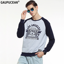 Genuine Gaupucean Man Cotton High Quality O-neck Navy Blue Grey Green Student Round Neck Casual Full Long Sleeve Men Sweatshirt(China)
