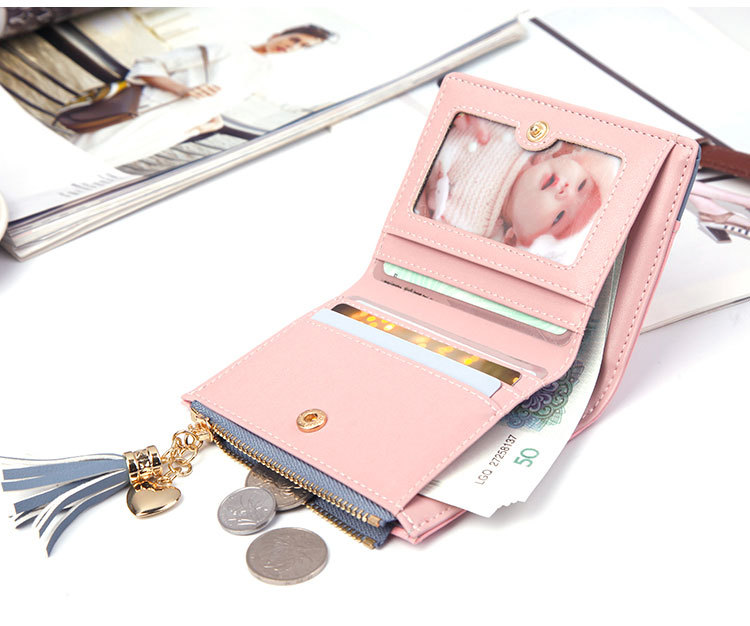 2018 Fashion Ladies Wallet Female Short Zipper Coin Purse Small Wallets Young Womens Tassel Hasp Purses Button Card Holder Pouch 85