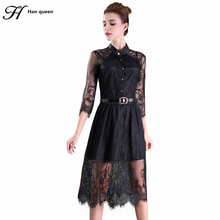 S-5XL 2016 Summer Dresses Hollow Out Women Half Sleeve Elastic Waist Floral Crochet Casual black Lace Dress Femininas Vestidos(China)