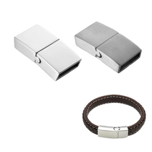 FUNIQUE 1PC Frosted / Glossy Stainless Steel Plain Arc Magnetic Lock Clasp For Leather Bracelet DIY Jewelry Findings(China)