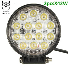 2pcs 42W LED Work Light High Power Led 4x4 Off Road Light Bar Pair SUV Driving Headlight Pods Flood Light for Boating Hunting