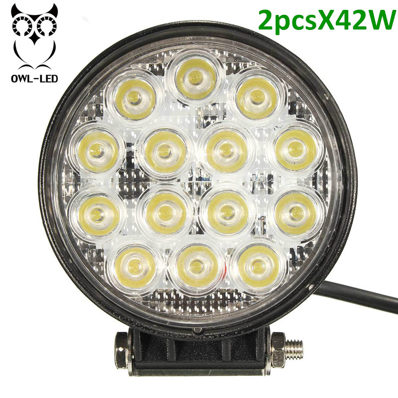 2pcs 42W LED Work Light High Power Led 4x4 Off Road Light Bar Pair SUV Driving Headlight Pods Flood Light for Boating Hunting<br>
