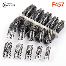 TKGOES 50pcs Black Clear body classical flowers patterns half cover fake nail tips art salon pre designed nail tips F457-50