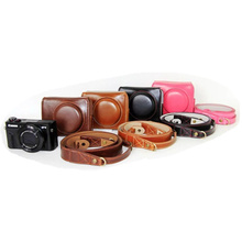 Black/Brown/Coffe/Pink Digital Camera Leather Case Cover For Canon G7X Mark II G7XII With Storage Bag Bottom Opening Case