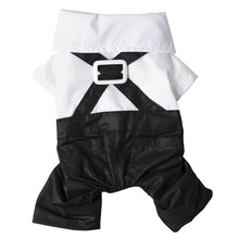 Pet dog black clothing with white sets prince tuxedo bow tie suit puppy costume jumpsuit coat clothes pet accessories suppliers