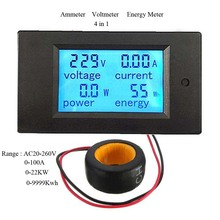 Free Shipping Digital AC Voltage Meter 100A/80~260V Energy Meter Voltmeter Ammeter LED Panel Monitor CT Connection Power Meter