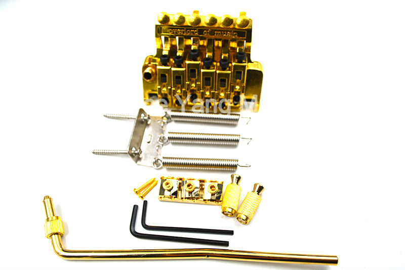 Gold Vintage Floyd Rose Lic Electric Guitar Tremolo Bridge Double Locking Assembly System Free Shipping Wholesales<br>