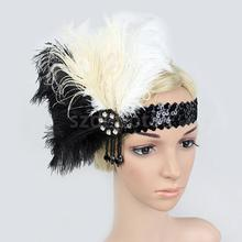Black White Feather Sequins Tassel Wedding Flapper Headband 1920s Gatsby Stretch Headdress Carnival Headpiece Fancy Costume