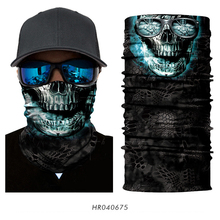 3D Seamless Magic Headband Ghost Neck Warmer Scarf Face Mask Skeleton Ghost Skull Military Pirate Bandana Paintball(China)