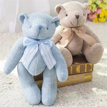 2017 New Baby Kid Bowknot knitting little Teddy Bear Plush Toys Stuffed Animal Doll Children Gift Toys(China)